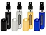 Travalo Classic Refillable Travel Perfume Bottle Atomizers, Black/Silver/Gold/Blue, 4 Pack