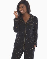 Soma Intimates Long Sleeve Notch Collar Pajama Top Star Bright Black