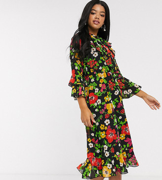 Twisted Wunder neck tie midi dress with ruffle hem sleeves in pop floral-Black