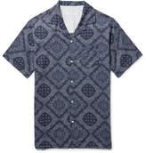 Officine Generale Dario Camp-collar Printed Cotton Shirt - Navy
