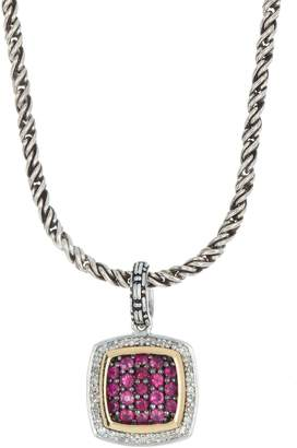 Effy 18K Gold & Sterling Silver Crystal Pave Pendant Necklace