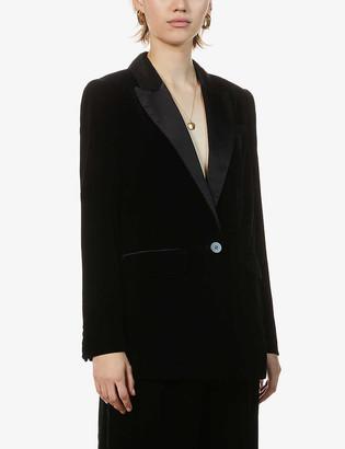 Whistles Single-breasted velvet blazer