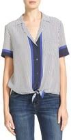 Equipment Women's Kiera Tie Front Stripe Silk Shirt