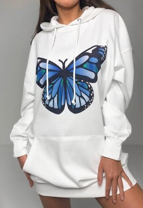 Missguided White Butterfly Print Oversized Hoodie Dress