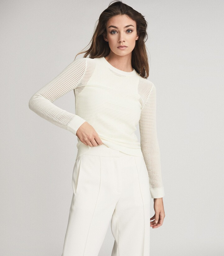 Reiss Alba - Open Knit Jumper in White