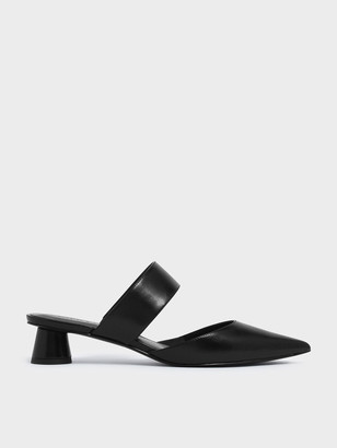 Charles & Keith Textured Thick Strap Cylindrical Heel Mules