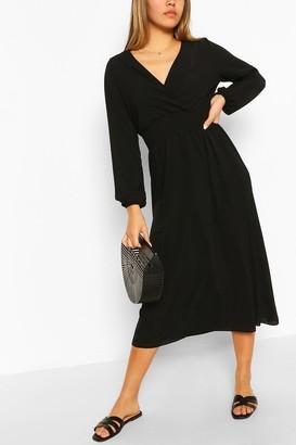 boohoo Wrap Long Sleeve Midi Dress
