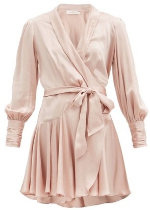 Zimmermann Belted Silk-satin Mini Wrap Dress - Light Pink