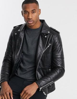 Barneys New York Barneys Originals quilted real leather zipped biker-Black