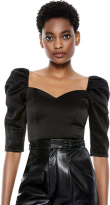 Alice + Olivia Solange Puff Sleeve Crop Top