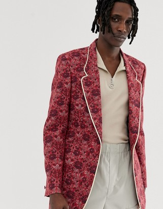 Asos Edition EDITION slim longline blazer in pink floral jacquard with cream piping