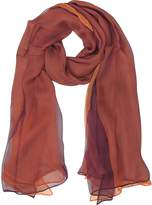 Laura Biagiotti Burgundy and Orange Double Chiffon Silk Stole