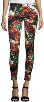 7 For All Mankind Floral-Print Ankle Skinny Jeans, Black