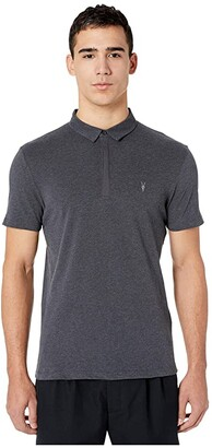 AllSaints Brace Short Sleeve Polo (Charcoal Marl) Men's Clothing