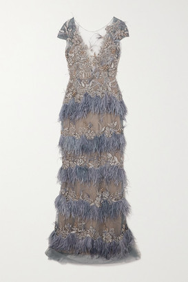 Marchesa Feather-trimmed Embellished Tulle Gown - Blue