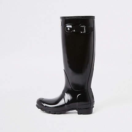 bfa6da1ad1a Hunter black tall gloss rubber boots