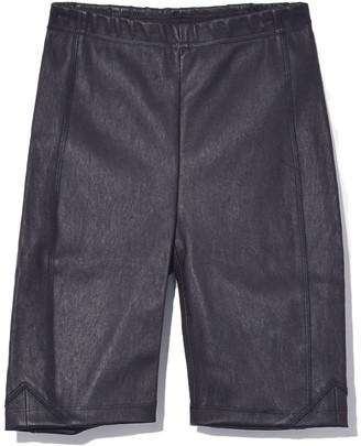 Veda Leather Biker Short in Black