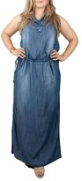 Plus Size Women's Standards & Practices Makayla Denim Drawstring Maxi Dress