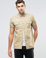 Asos Military Shirt In Stone With Short Sleeves