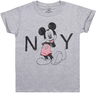 Disney Mickey Mouse - New York - Girls T Shirt Sport Grey - Xxl