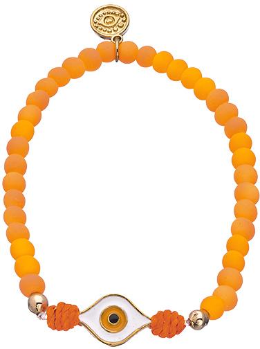 Blee Inara Gold Enamel and Beaded Evil Eye Stretch Bracelet