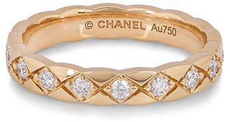 Chanel Pre Owned 18kt rose gold Coco Crush diamond quilted ring