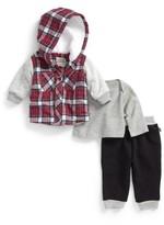 Infant Boy's Little Brother By Pippa & Julie Hooded Jacket, Knit Top & Sweatpants Set