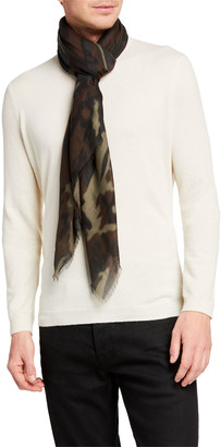 Tom Ford Men's Camo-Print Wool-Silk Scarf