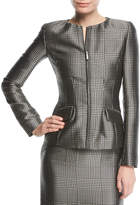 Ralph Lauren Lorraine Houndstooth Zip-Front Jacket