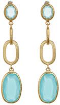 Rivka Friedman 18K Gold Clad Faceted Mint Chalcedony Crystal Satin Link Drop Earrings