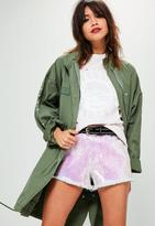 Missguided High Waisted Sequin Frayed Hem Shorts