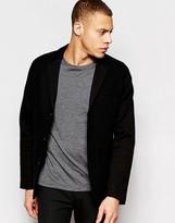 Asos Slim Blazer In Black Harris Tweed