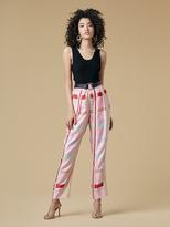 Diane von Furstenberg Silk Twill Pleat Front Pant