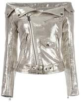 Faith Connexion Women's Gold Leather Outerwear Jacket.