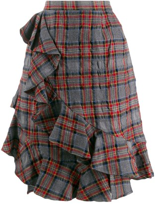 Julien David Ruffle Trim Plaid Skirt