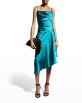 Thumbnail for your product : Halston Nuri Cowl-Neck Asymmetric Satin Dress