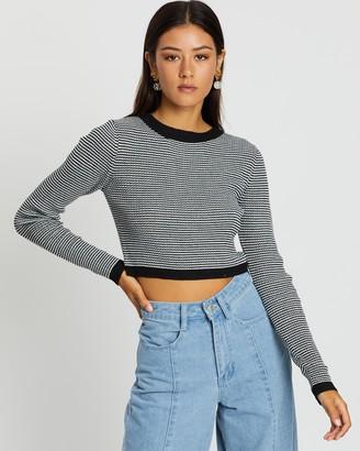 Dazie The Edge Cropped Stripe Knit