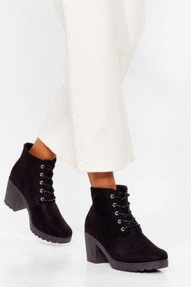 Nasty Gal Womens Walk All Over 'Em Faux Suede Heeled Boots - Black - 3