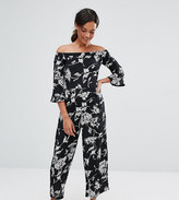 Asos Bardot Jumpsuit In Mono Floral