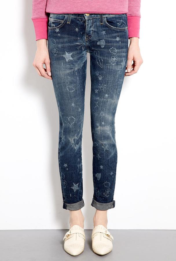 Current/Elliott Write-on Mid-rise Rolled Skinny Jeans
