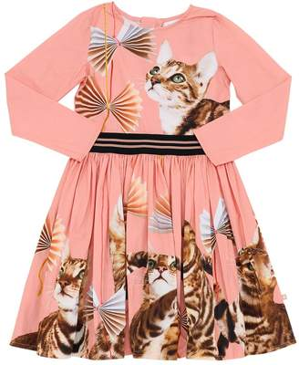 Molo CAT PRINT COTTON POPLIN DRESS