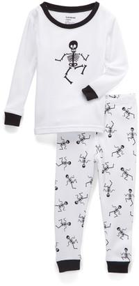 Leveret Sleep Bottoms - White Skeleton Pajama Set - Toddler