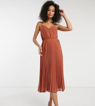 Asos Tall ASOS DESIGN Tall pleated cami midi dress with drawstring waist in mocha
