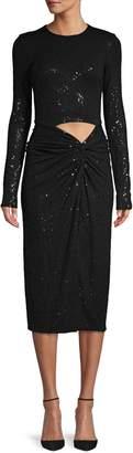 Michael Kors Sequin Cutout Long-Sleeve Jersey Dress