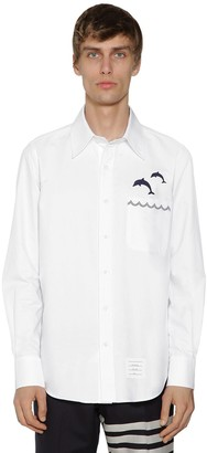 Thom Browne Dolphin Embroidered Oxford Cotton Shirt