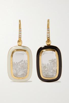 Moritz Glik 18-karat Gold, Enamel, Sapphire Crystal And Diamond Earrings