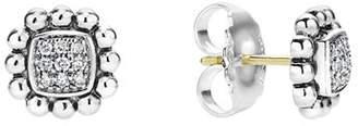 Lagos Sterling Silver Caviar Spark Diamond Square Stud Earrings