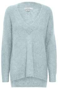 Gestuz Knit Brenda V Long Pullover - Ice Aqua / S