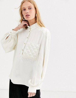 And other stories & Capsule pocket-detail grandad collar blouse in off white