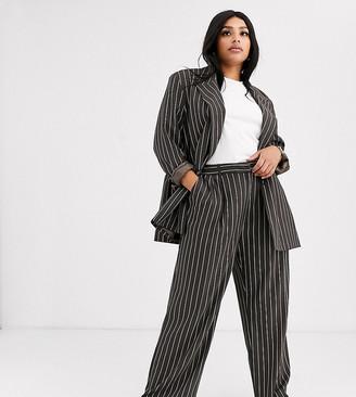 Asos DESIGN Curve mensy suit trousers in pinstripe-Multi